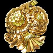 Trifari Triple Spray Floral Clip Rose & Yellow Gold Plating – 1938 – 42