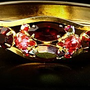 SALE Hinged Cuff Bracelet -- Aurora Borealis Red & Red Rhinestone
