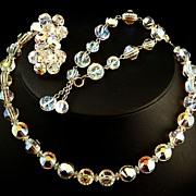 SALE Hobe Aurora Borealis Swarovski 'Nailhead /Aspirin' Crystal Full Parure -- Rare Beads -- 6