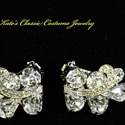 SALE Weiss Rhinestone Earrings with Icing -- 50s
