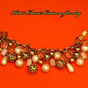 Double Link Chunky Cloisonné Enamel faux Pearl, Art Glass Charm Bracelet- 20 charms -- 60s