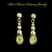 Signed Sterling Silver Mexican Dangle Earrings -- faux Fiery Opals -- 40s