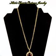 SALE Vintage Avon faux Amethyst & Pearl Long Necklace/Pendant -- Victorian Revival with Tassel