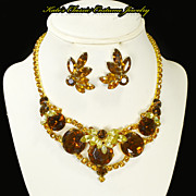 Headlight Necklace & Earrings -- Designer Quality -- Cognac & faux Topaz Rhinestones