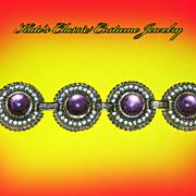 Chunky Rhinestone & Lucite 50s Bracelet --Selro style