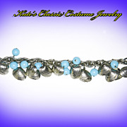 German Silver Tone Shells & Turquoise Lucite -- Chunky Charm Bracelet -- 50s/60s