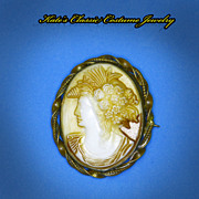 SALE Victorian Glass Cameo Brooch -- Sea Themed -- Poseidon's Wife Amphitrite-High Relief -- .