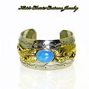 SALE Vintage Navajo Sterling Silver, Brass, & Turquoise Cuff Bracelet -- Signed