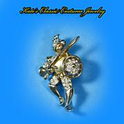 SALE Reja/Deja Pearl Hearted/Bellied Knight or Swordsman Brooch -- Rhinestones -- 40s