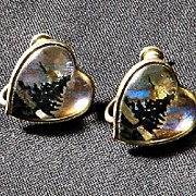 SALE 1930s Butterfly Wing Heart Shaped  Earrings -- Sterling