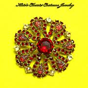 SALE PENDING Schiaparelli Iridescent Siam Red Lava Rock & Red Rhinestone Brooch/Pin -- late 50