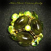 Signed Regency Brooch/Pin -- Art Glass & Rhinestone -- late 50s/60s