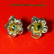Operculum Sterling Silver Earrings -- Flower Figural -- Hand Wrought