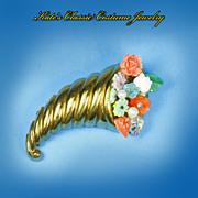 Cornucopia Brooch/Pin -- Molded Flowers -- Unsigned Coro -- 40s -- Fruit Salad