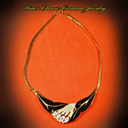 SALE Trifari Black Enamel & Rhinestone Choker Necklace -- Mid Century Modern
