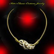 Trifari Choker Necklace -- Rhinestones & Snake Chain
