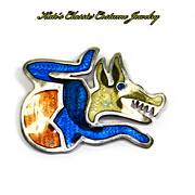 Sterling Silver Taxco Mexico Guilloche Enamel Snarling Wolf Pin -- Signed AMO