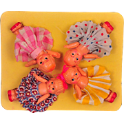 Four Celluloid Kewpies With Original Clothing on Original Card! Japan c. 1930s, 2.5""