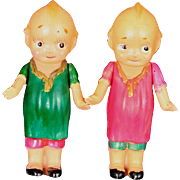 "Pair of Celluloid Kewpies With Molded Clothing 3"" tall"