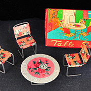 Metal Dollhouse Table and Chairs, Mid 20th Century, In Original Box, Japan