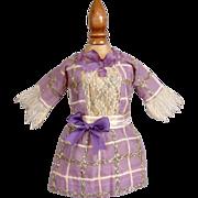 SOLD Gorgeous Antique Edwardian SFBJ Jumeau Bebe Doll Dress In Violet With Elaborate Textile a