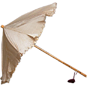 SALE Exquisite Victorian Child's Parasol Of Plum And Cream Pinstripe Silk With Tassel And ...