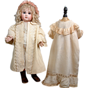 SOLD Silk, Wool, Embroidery And Lace Victorian Antique Dress And Coat Costume For Sz 14-15 Fre
