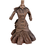 SOLD The Best C. 1880 Fashion Lady Doll's Paris Couture Walking Dress With Original Half Slip