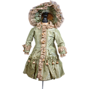 SOLD The Ultimate Original 1885 Antique Silk Bebe Doll Dress with Hat From Maison Jumeau or A.