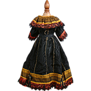 SOLD C. 1885 Antique Moiré Silk And Chantilly Lace Ball Gown Dress of the Victorian Bustle Er
