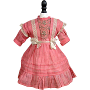 """SOLD Exquisite Rose Cotton Bebe Jumeau Sz. 4 Chemise Play Dress C. 1900 Published In """"Wha"""