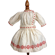 SOLD All Original Size 9 Bebe Jumeau Dress of Embellished Silk Charmeuse Hand Sewn and Embroid