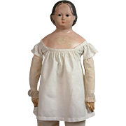 Hand Stitched Shift with Simple Van Dyking For Early Wax Or Papier Mache Doll C ...