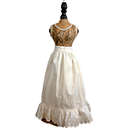 SOLD Early 1870s Pristine Antique White Cotton Half Slip w/Gorgeous & Intricate Dust Ruffle!