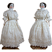 SOLD Unforgettable Victorian Tea Gown With French Floral Lace Insertions and Open Collar C. 18