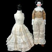 Precious Thin Lawn Matched Pantaloon & Half Slip Set C. 1880 Bustle Era For French Fashion ...