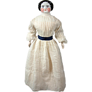 SOLD Incredible C. 1865-70 Civil War Era China Or Composition Doll's Day Dress with 107 Rows o