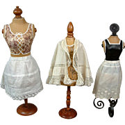 SOLD PRISTINE 3-Piece Lot of Antique Lace Trim Cotton Half Slips and Capelet – A Beautiful P