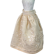 Richly Decorated C. 1870 Wool Halfslip of Silk Pictorial Embroidered Homespun!