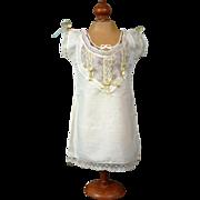 SALE Extraordinary Antique Cotton Chemise c.1878-1882 w/ Exquisite Lace Front & Sage Insertion