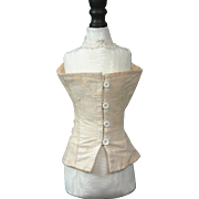 SALE Wonderful Rare Button Closure Corset with 12 Grommets For French Fashion Doll C. 1880