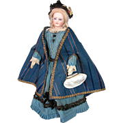 Delightfully Unique Silk and Cotton Royal Blue Cape With Arm Openings For French Fashion Doll