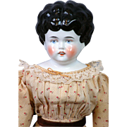 "SALE Uncommon 17.5"" China Doll with Parted Lips and Square Cut Teeth c.1885~All ..."