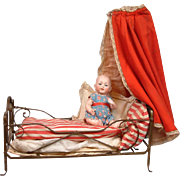 Museum Display Hand Wrought Cast Iron Doll Bed with Original Bedding and Canopy C. 1880