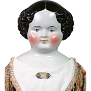 """SALE Massive 31"""" Antique China Lady Featuring GORGEOUS Corseted Goldsmith Body In Sweet ."""