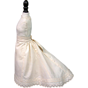 One of A Kind Victorian Pre-Bustle Era Trained Half Slip With Hand Embroidered Double ...
