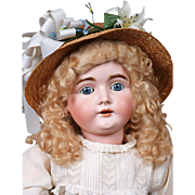 "SALE Beautiful 32"" Kestner 164 Antique Bisque Doll With Gorgeous Golden Blond Mohair Curl"
