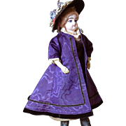 Rich Purple Moire Silk Half Mourning Jacket With Black Velvet Trim Late Enfantine Style