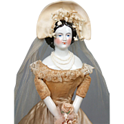 "SOLD Blushing 15.5"" Antique Jenny Lind China Lady 100% Original Antique Bridal Costume w/"