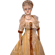 "SALE Singular 26"" German Reinforced Wax Fashion Doll C. 1858-62 In Original Silk Gown"